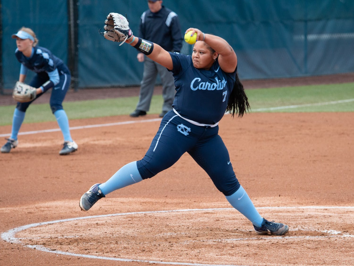 UNC first-year pitcher Alyssa Stanley (7) pitches the ball during the game against James Madison at G. Anderson Softball Stadium on Wednesday Feb. 19, 2020. UNC lost to Madison 3-6.
