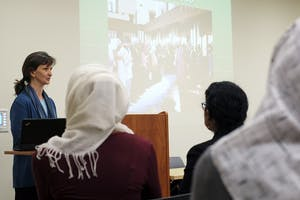 Juliane Hammer discusses gender, Muslim women and Islamaphobia on Monday evening in the Student Union as part of a teach-in series.