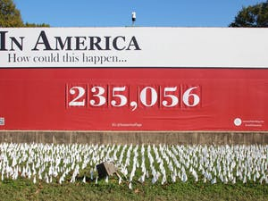 The COVID-19 Flag Memorial is seen in Washington, D.C. on Friday, Nov. 6, 2020. The number of flags represents the number of American deaths due to COVID-19.