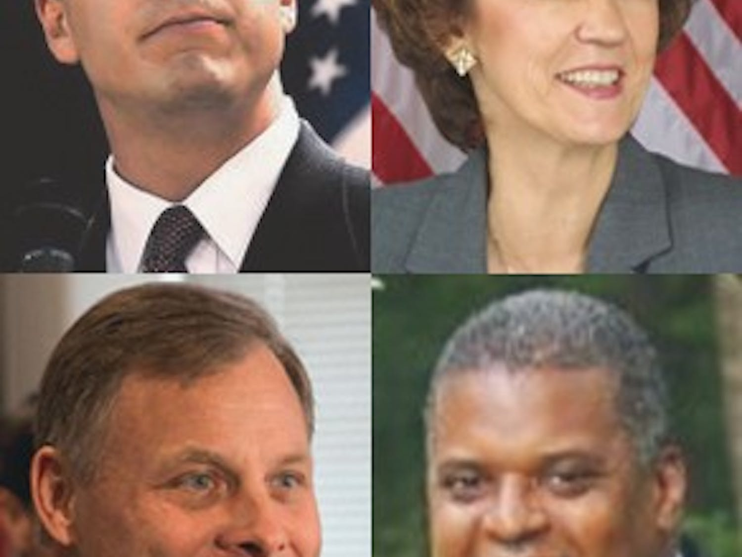 Upper Left: Cal Cunningham, Bottom Left: Richard Burr, Top Right: Elaine Marshall, Bottom Right: Kenneth Lewis