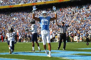 Former North Carolina wide receiver Mack Hollins (13) celebrates a touchdown against Pittsburgh last fall.