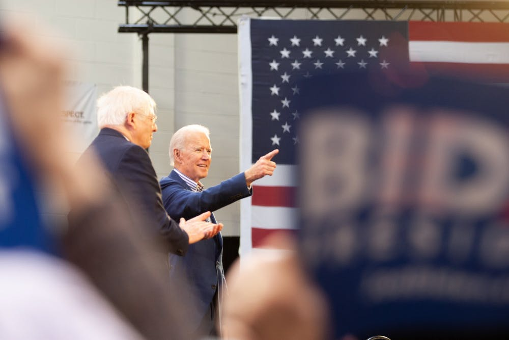 <p>Former Vice President Joe Biden speaks during a rally ahead of Super Tuesday at St. Augustine's University in Raleigh, on Saturday, Feb. 29, 2020. Later that day, Biden won the South Carolina primary.</p>