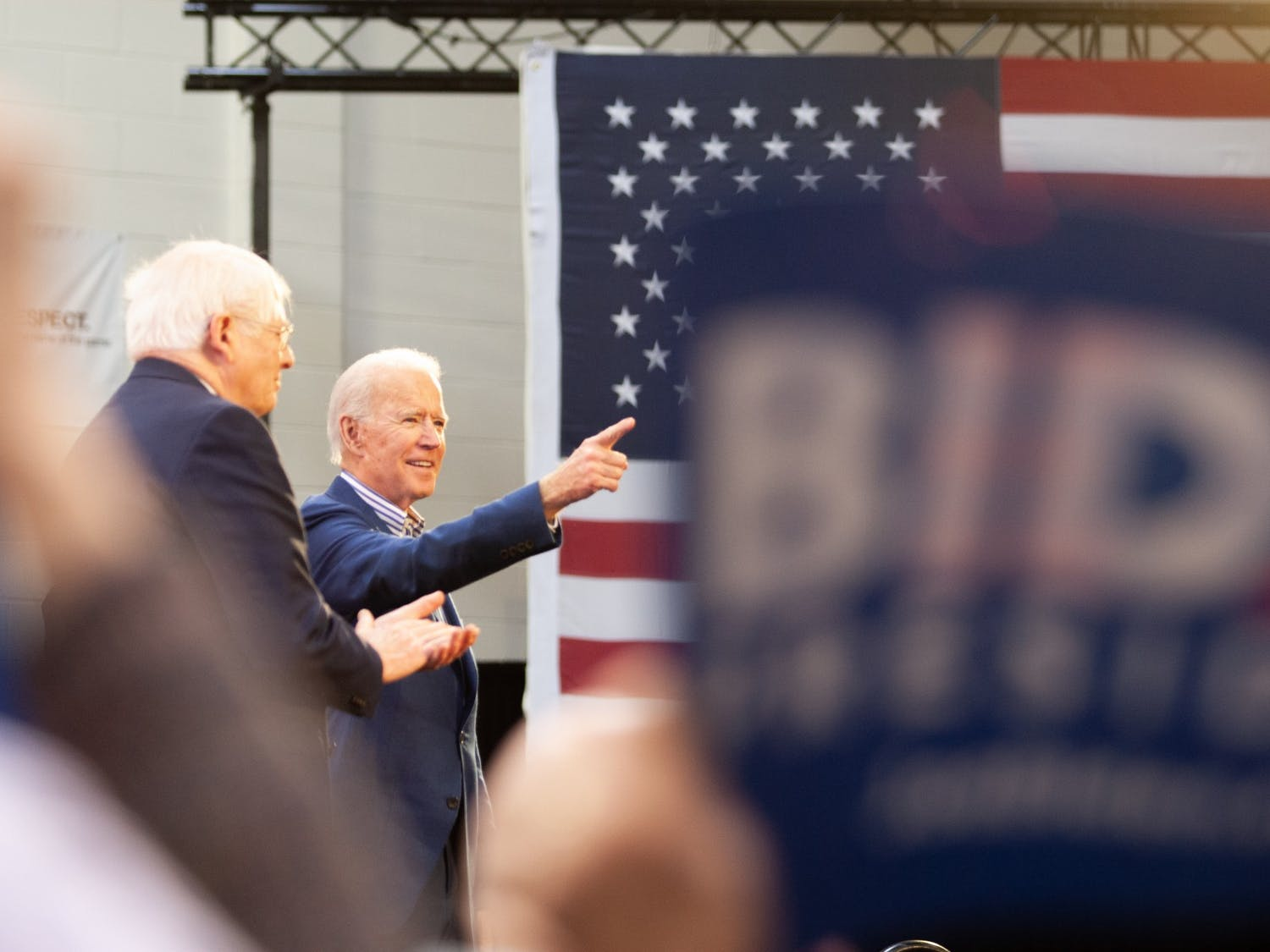 Former Vice President Joe Biden speaks during a rally ahead of Super Tuesday at St. Augustine's University in Raleigh, on Saturday, Feb. 29, 2020. Later that day, Biden won the South Carolina primary.