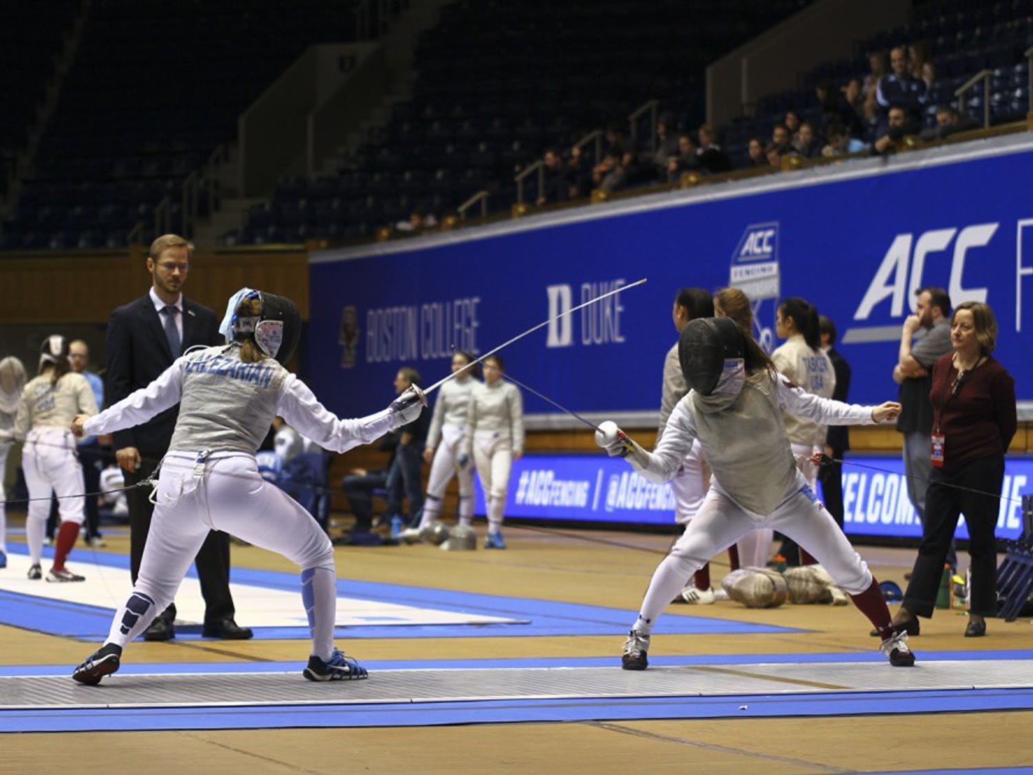 Amanda Lalezarian (UNC) preparing to lunge during a match. The UNC Women's Team placed 3rd at the ACC Fencing Tournament on Sunday, February 26, 2017.`