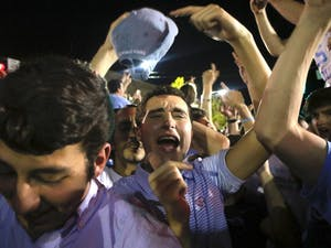 Fans flocked to Franklin Street on Saturday to celebrate the North Carolina men's basketball team's national championship berth.