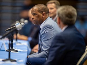 UNC Men's Basketball Head Coach Hubert Davis delivers remarks during his introductory press conference.
