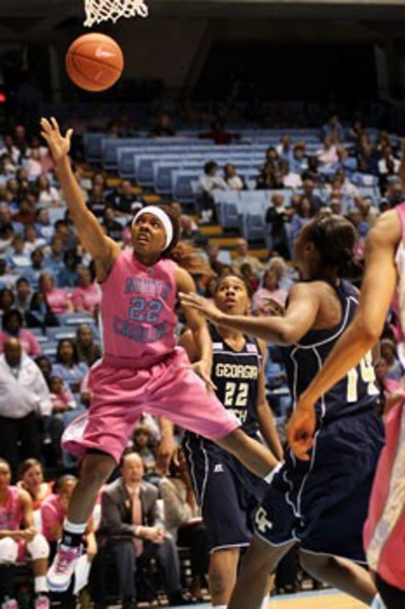 Sophomore point guard Cetera DeGraffenreid lays in two of her team-high 22 points on Sunday