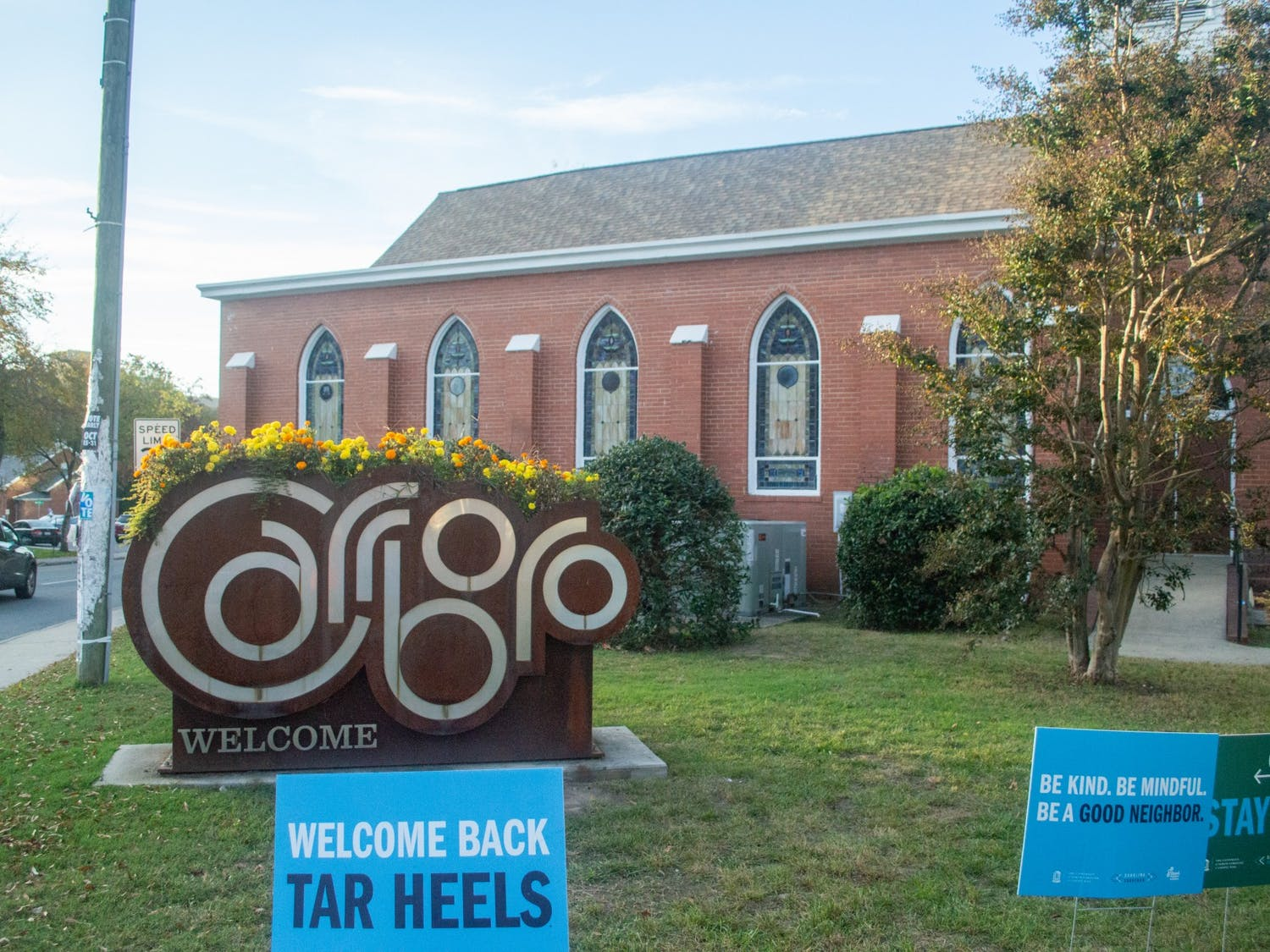 The Town of Carrboro sign as pictured on Oct. 21 2020.