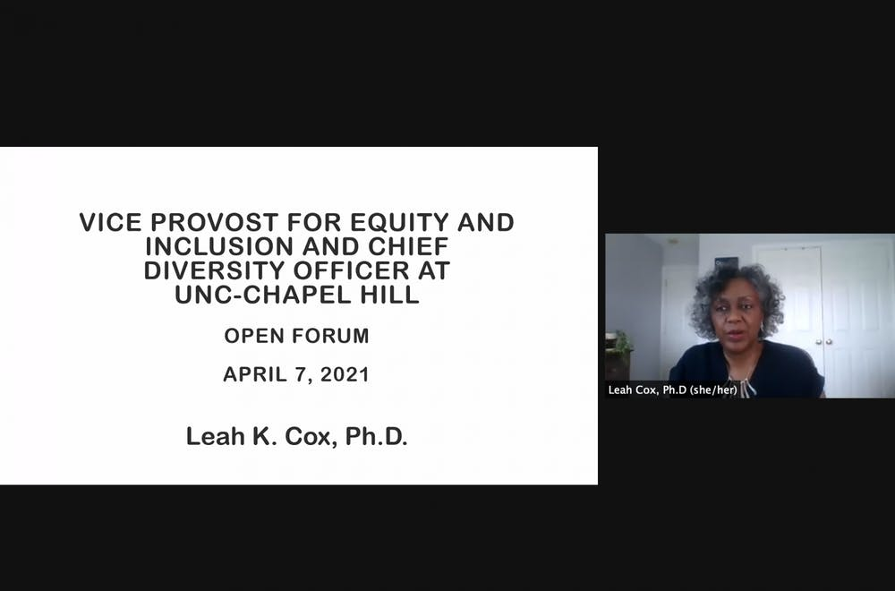 <p>Dr. Leah Cox, the current Vice President of Inclusion and Institutional Equity at Towson University became the fourth and final candidate to host an open forum as part of the selection process for UNC's new Vice Provost for Equity and Inclusion and Chief Diversity Officer.</p>