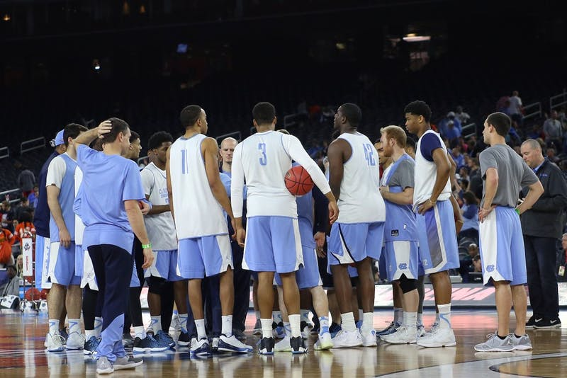 In preparation for their Final Four match up against Syracuse, the UNC men's basketball team held an open practice at NRG Stadium.