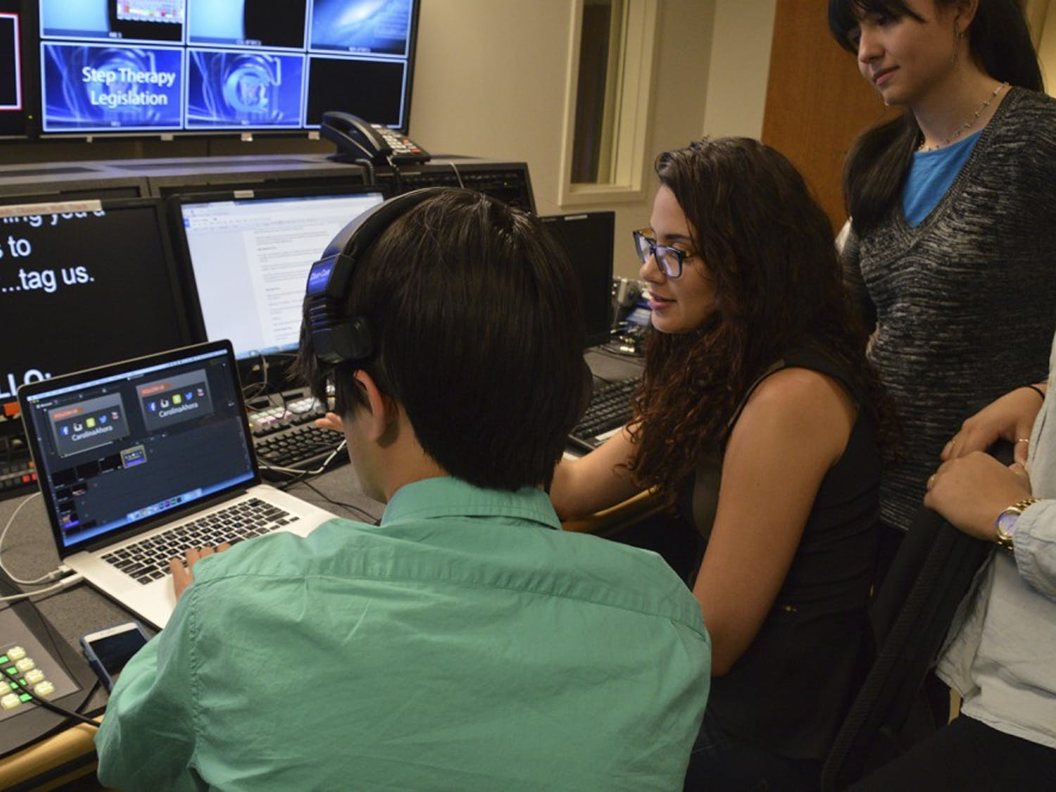 TheCarolina Ahora Feature control room iswhere the english/spanish translations are done and on-screen video is monitored.