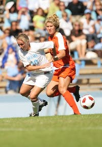 UNC's Alyssa rich fights for the ball in the 5-0 win against Miami. outshooting the Hurricanes 21-3, UNC improved to 5-1 in the ACC.
