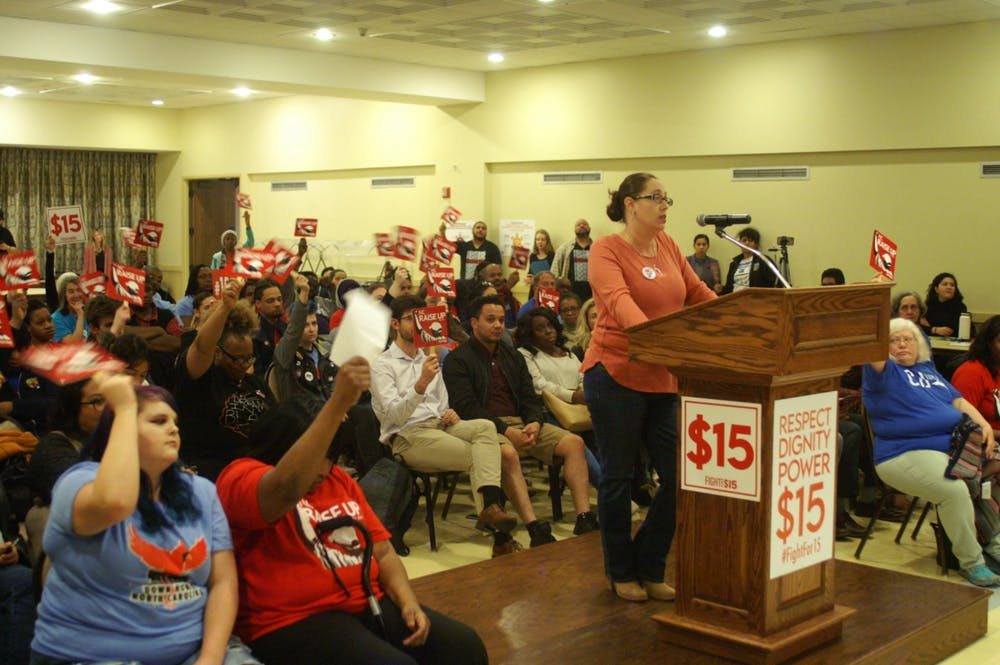 <p>Sara Fearrington, a 43-year-old Waffle House server and mother of three, speaks to 2020 candidates in Raleigh on Feb. 13, 2020. Photo courtesy of NC Raise Up.</p>