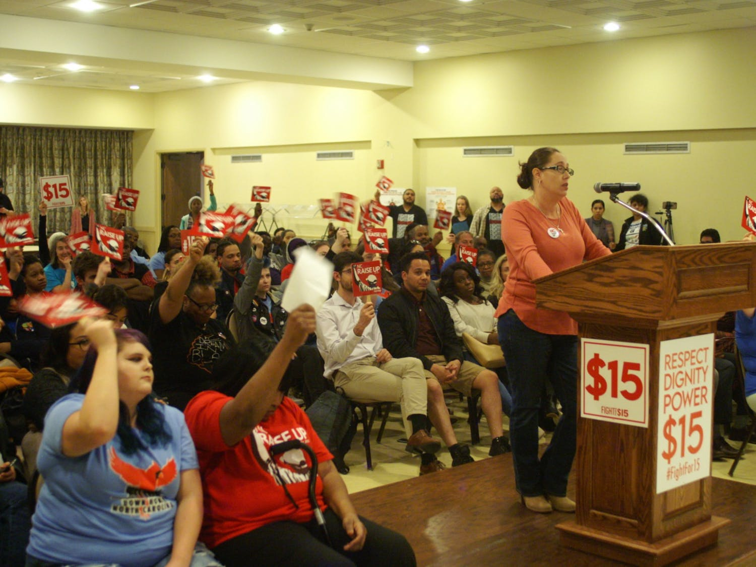 Sara Fearrington, a 43-year-old Waffle House server and mother of three, speaks to 2020 candidates in Raleigh on Feb. 13, 2020. Photo courtesy of NC Raise Up.