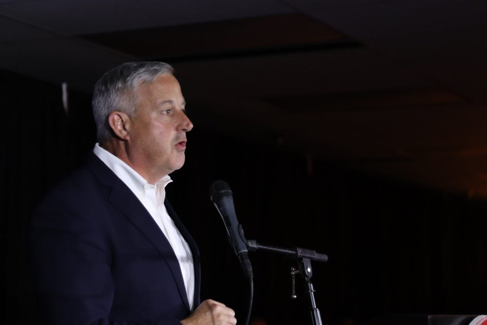 """""""Its been long, but I think we're really going to like the finish."""" The Chair of NCGOP Michael Whatley speaks at the NCGOP's election night party on Tuesday, Nov. 3, 2020 as results are announced."""