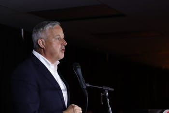 """Its been long, but I think we're really going to like the finish."" The Chair of NCGOP Michael Whatley speaks at the NCGOP's election night party on Tuesday, Nov. 3, 2020 as results are announced."