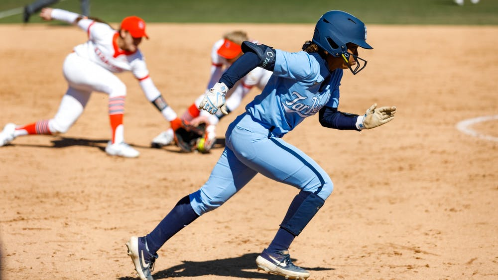 UNC sophomore infielder Destiny Middleton (47) runs to first in Anderson Softball Stadium in Chapel Hill, NC on Feb. 20, 2021. The Syracuse Orange beat the Tar Heels 3-2.