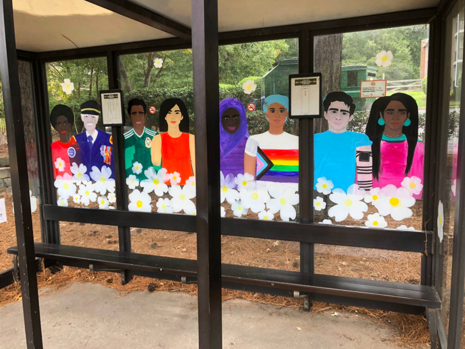 One of the bus shelters in the decorated as part of the Arts + Transit's Artistic Bus Shelter opportunity. Photo courtesy of Brian Litchfield.