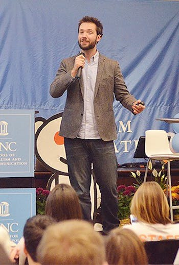 Cofounder of Reddit Alexis Ohanian speaks at UNC's School of Journalism and Mass Communication Monday night about the Internet as an enabler.