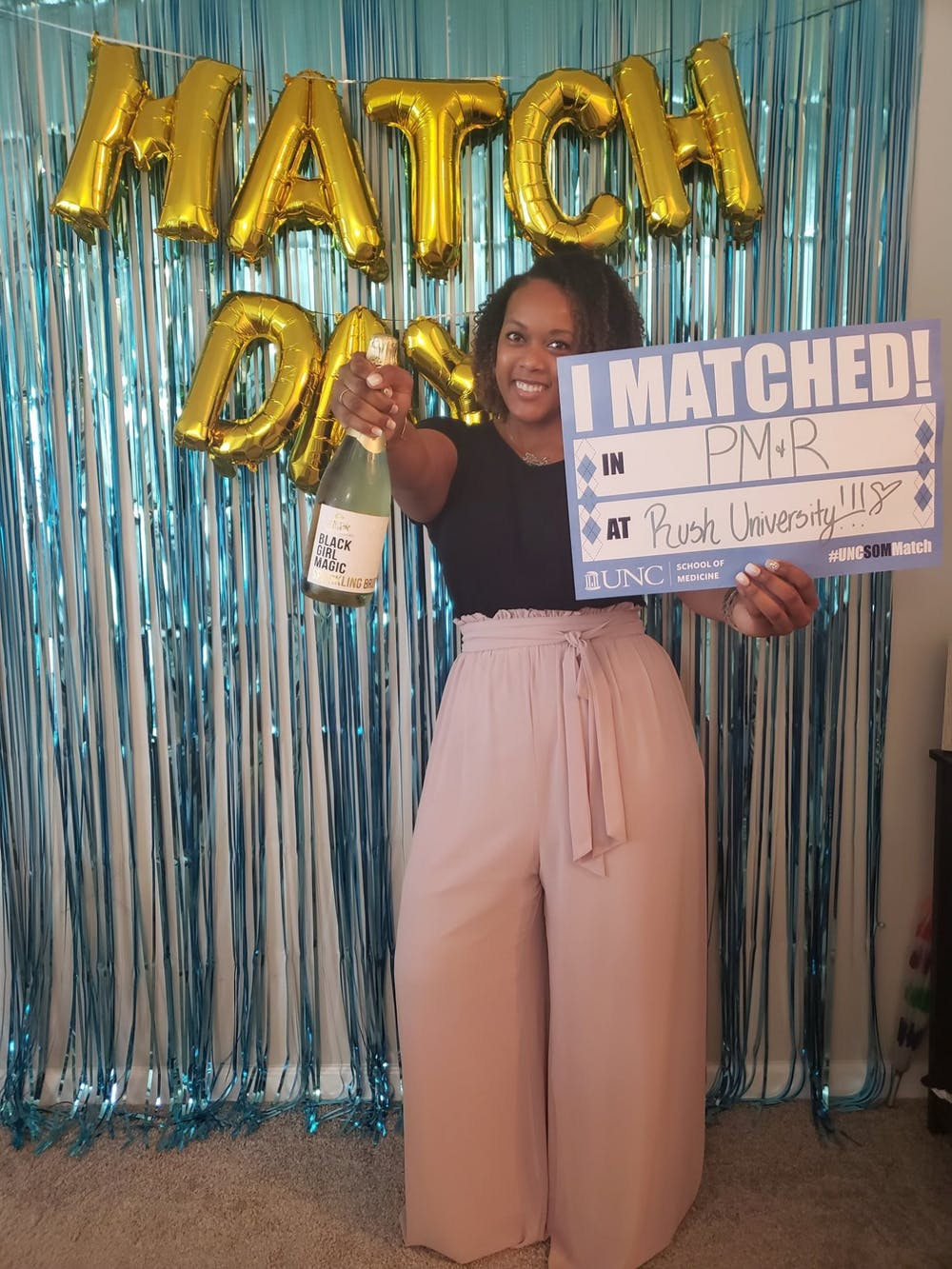 <p>Match day, when UNC medical students are paired with medical programs across the United States for residency and fellowship training, was March 19th. Tiffany Dyer matched with Rush University in Chicago. Photo courtesy of Tiffany Dyer.</p>