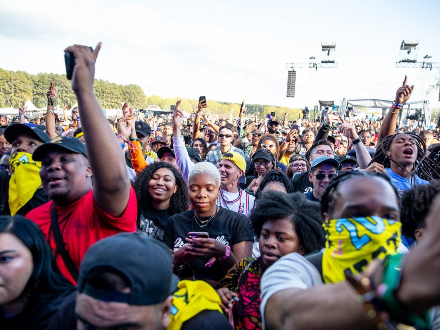 The crowd raps along to J.I.D's performance at the inaugural Dreamville Fest at Dorothea Dix Park on Saturday, April 6, 2019 in Raleigh, N.C. In its inaugural event, 40,000 people attended Dreamville after it was postponed in the fall of 2018 because of Hurricane Florence.