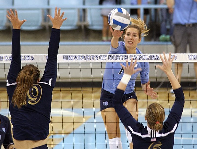 Graduate student Jovana Bjelica recorded a team-high 16 kills in Friday's game against Notre Dame at Carmichael Arena. The Tar Heels are 13-0.