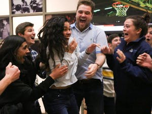 UNC junior Ashton Martin is surrounded by her friends and cheering as they hear that she will be the next student body president.  The announcement was made at 11 pm on Tuesday, Feb. 12, 2019 in the Student Union.