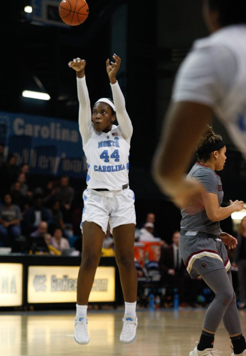 UNC sophomore center Janelle Bailey (44) attempts to score during a game against Boston College on Thursday, Feb. 21, 2019 in Carmichael Arena.