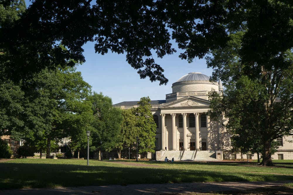 <p>Wilson Library and Polk Place, or the quad, pictured on June 7, 2020.</p>