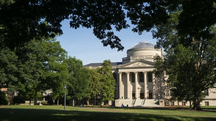Wilson Library and Polk Place, or the quad, pictured on June 7, 2020.