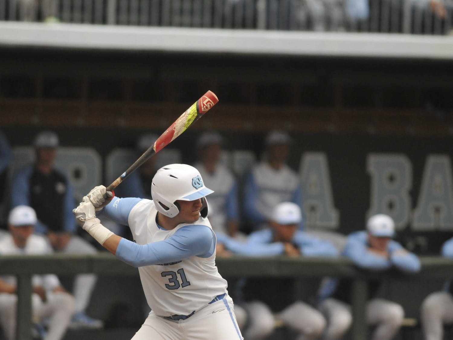 UNC junior pitcher Joey Lancellotti (31) prepares to bat at the Boshamer Stadium on Sunday, Feb. 16, 2020. UNC won against Middle Tennessee with a score of 5-4.