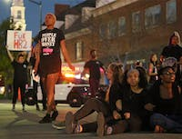 On-campus activist groups centered around people of color and queer/transgender advocacy shut down the intersection of Franklin St. and Columbia St. on Mar 29, 2016 in protest of newly passed House Bill 2.