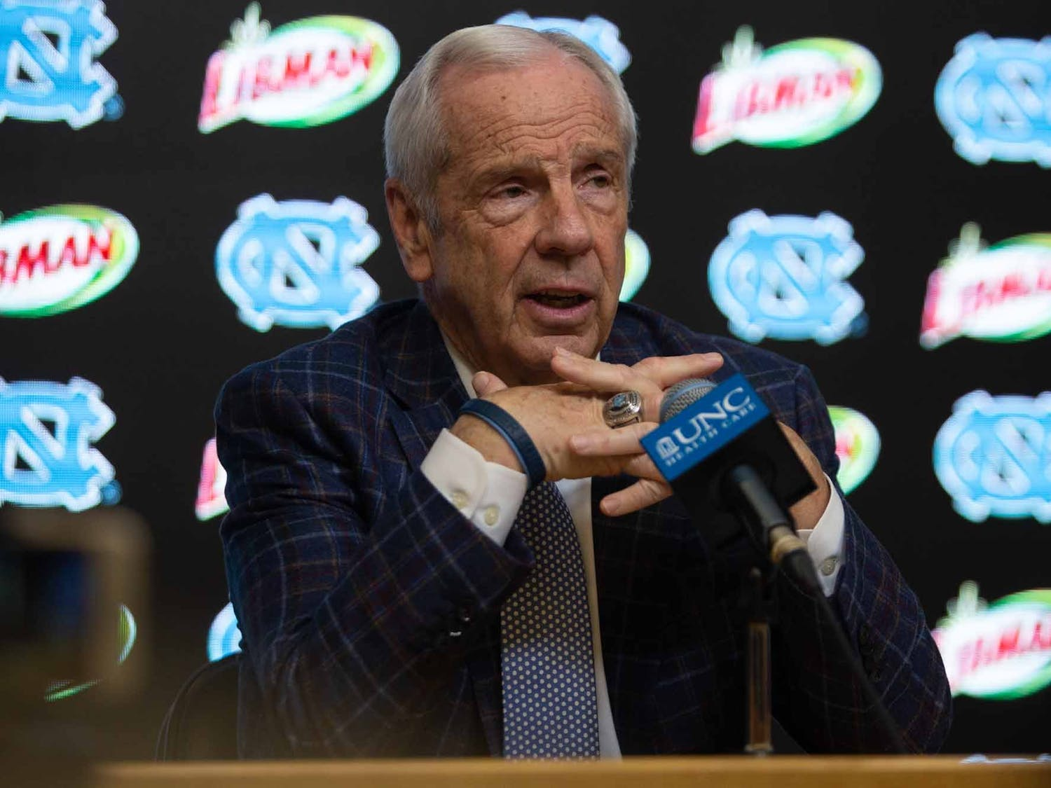 UNC men's basketball head coach Roy Williams speaks to the press after the game against Virginia in the Smith Center on Saturday, Feb. 15, 2020. UNC fell 64-62 against UVA.