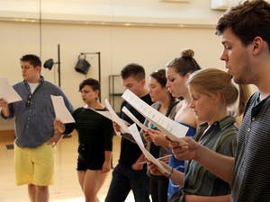 The cast of Broadway Twisted rehearses.