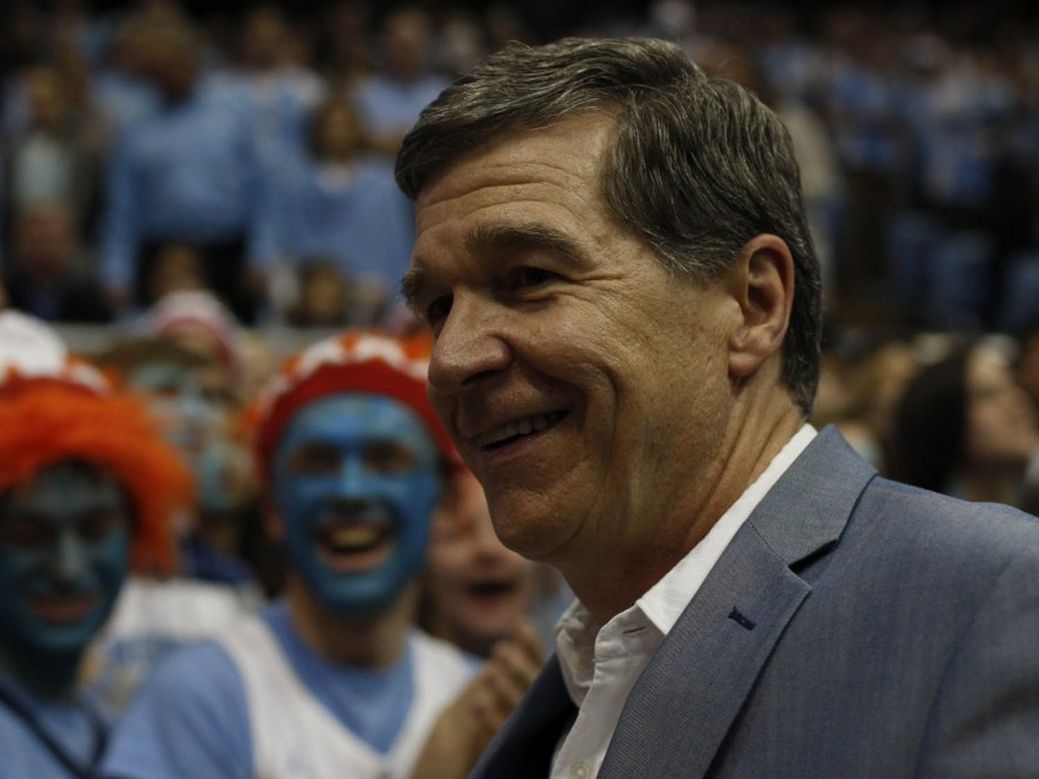 NC Governor Roy Cooper attends the UNC versus Duke game UNC at the Smith Center on Saturday, March 9, 2019. The Tar Heels defeated Duke 70-79 to become ACC regular season champions.
