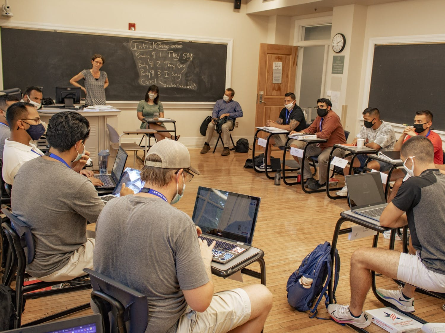 Under the Warrior-Scholar Project, a cohort of veterans went through a week-long education program intended to prepare them for life as nontraditional college students. The cohort is pictured in Murphey Hall on July 27, 2021.