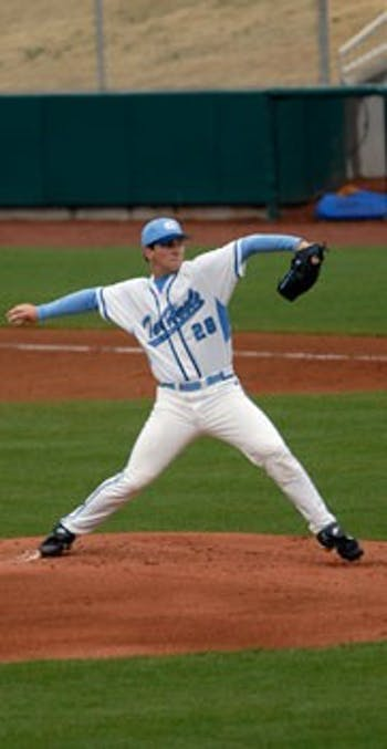 "Adam Warren"" UNC?s Saturday starter in 2008 pitched in the Fall World Series and gave up six hits in three innings Wednesday."