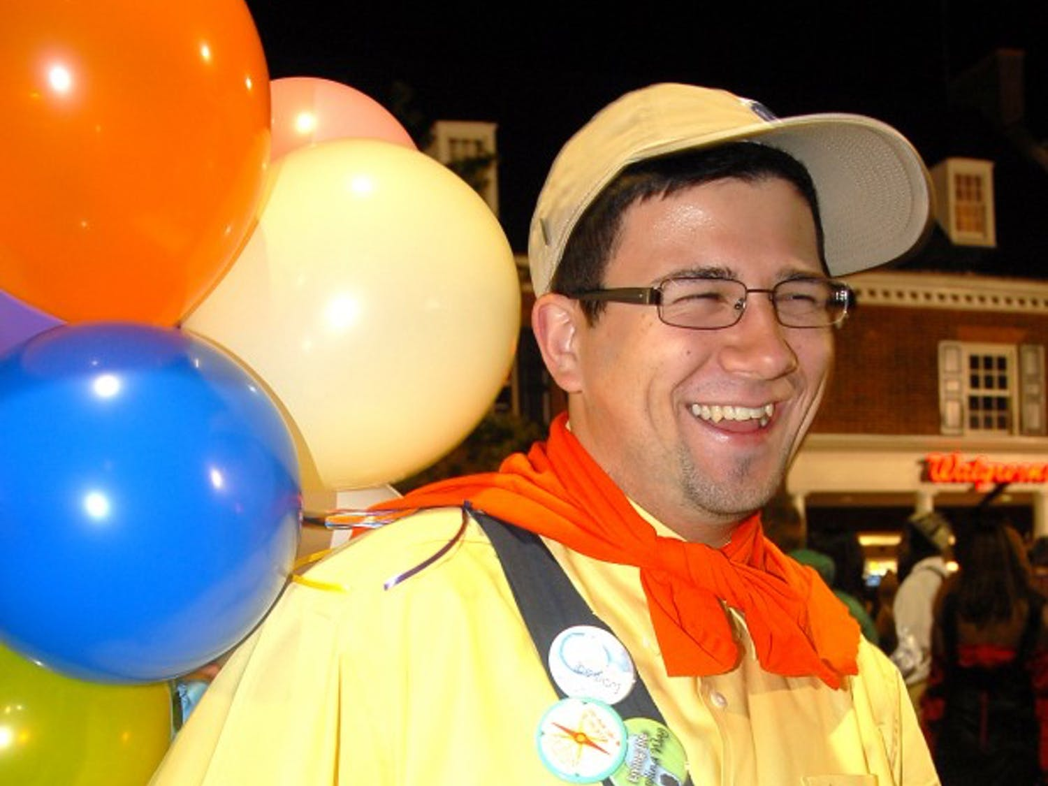 """Jesse Vineyard, a senior English major, poses as the character Russell from the movie """"Up."""""""