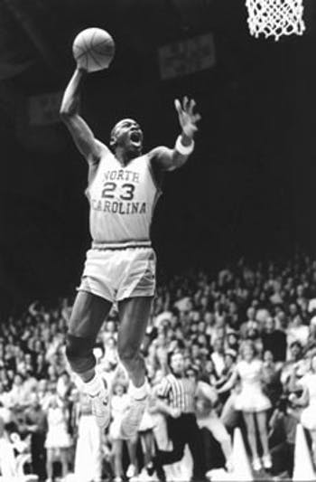 """""""All over the world wherever you go it's Michael Jordan, 23 and North Carolina.""""  Dick Baddour,  UNC athletic director"""