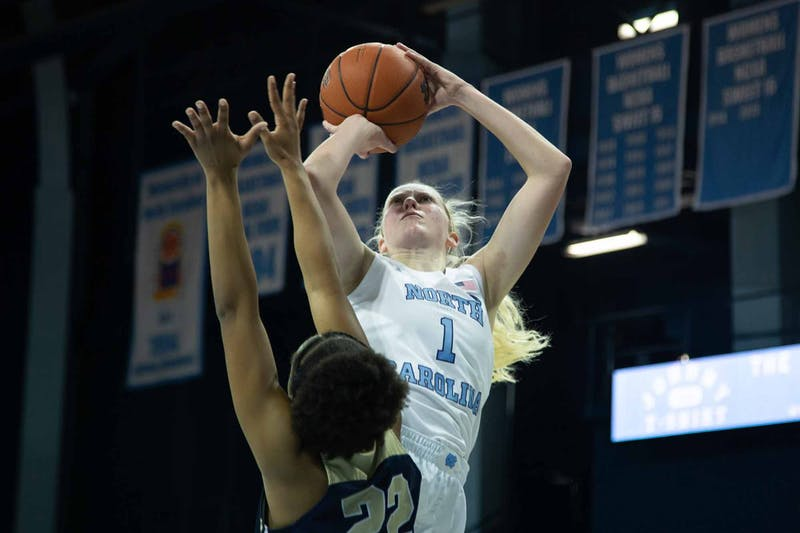 Senior guard Taylor Koenen (1) shoots a free throw during exhibiton game against Wingate in the Charmichael Arena on Saturday, Nov. 2, 2019. UNC won 82-37.