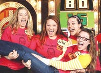 Allison Presnell (left), Katie Traylor (middle), and Ashley Campbell hold Danielle Schlafer before going into the Price is Right studio. Traylor won $10,000.  Courtesy of Katie Traylor