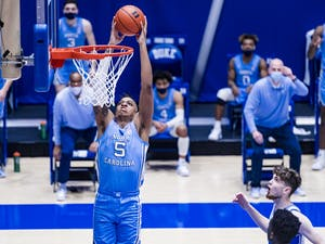 Duke Men's Basketball takes on the University of North Carolina Tar Heels in the first half at the Cameron Indoor Stadium on February  6, 2021 at Durham, North Carolina. Photo courtesy of Natalie Ledonne.