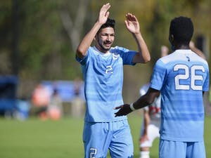 Junior midfielder Mauricio Pineda (2) celebrates his goal against Virginia Tech.  UNC defeated Virginia Tech 3-0 at Finley Field on Sunday Nov. 4.