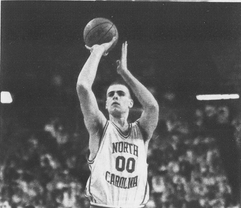 """Eric Montross played at North Carolina from 1990-94, capturing a national championship in 1993 and helping the Tar Heels upset Duke in the famous """"bloody Montross"""" game. DTH File."""