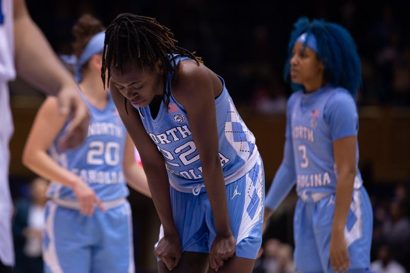 UNC senior guard Shayla Bennett (22) prepares for a free throw during the game against Duke on Thursday, Feb. 6, 2020 at Cameron Indoor Stadium. UNC fell to Duke 61-71.