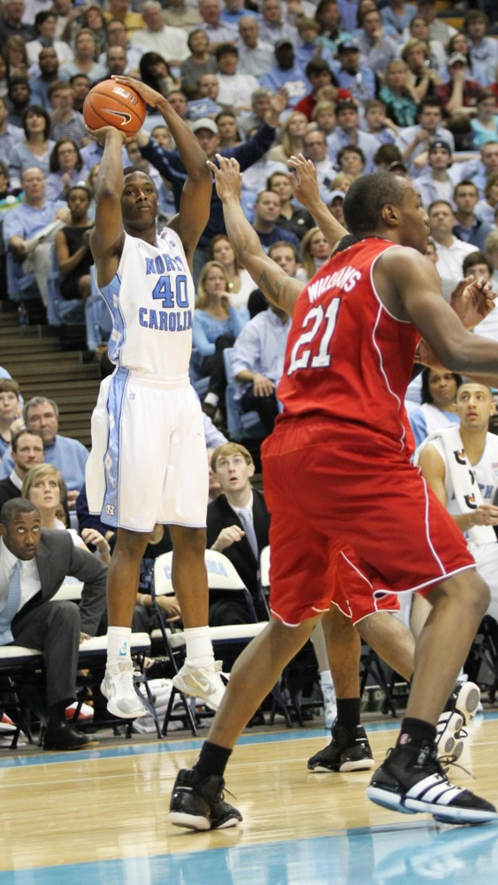 Harrison Barnes with a jump shot to expand Carolina's lead on Saturday.