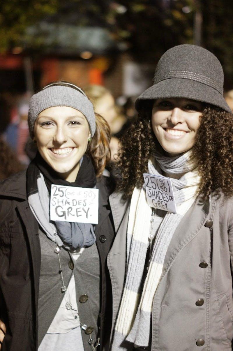 Freshman linguistics and Spanish major Brook Farmer and Freshman graphic design major Kristi Walker  represent 50 Shades of Gray.
