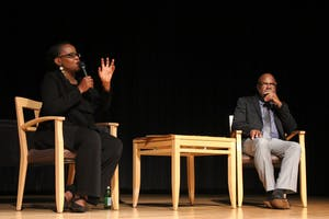 Edwidge Danticat (left) and Joseph Jordan (right), Director of Stone Center, talk to the audience at the 25th Annual Sonja Haynes Stone Memorial Lecture.