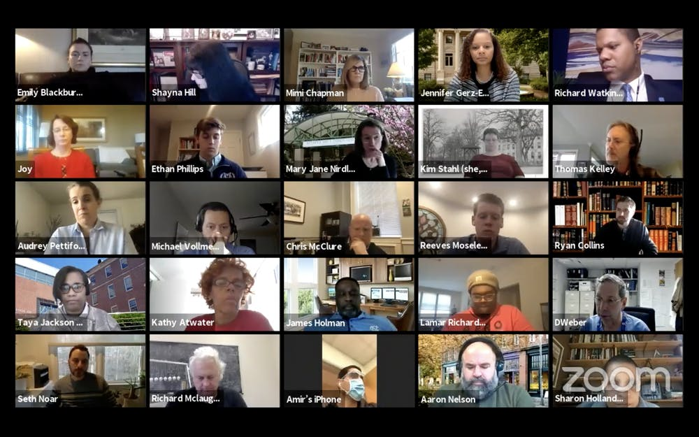 <p>Screenshot from the Campus and Community Advisory Committee meeting on Tuesday, Dec. 15, 2020.</p>