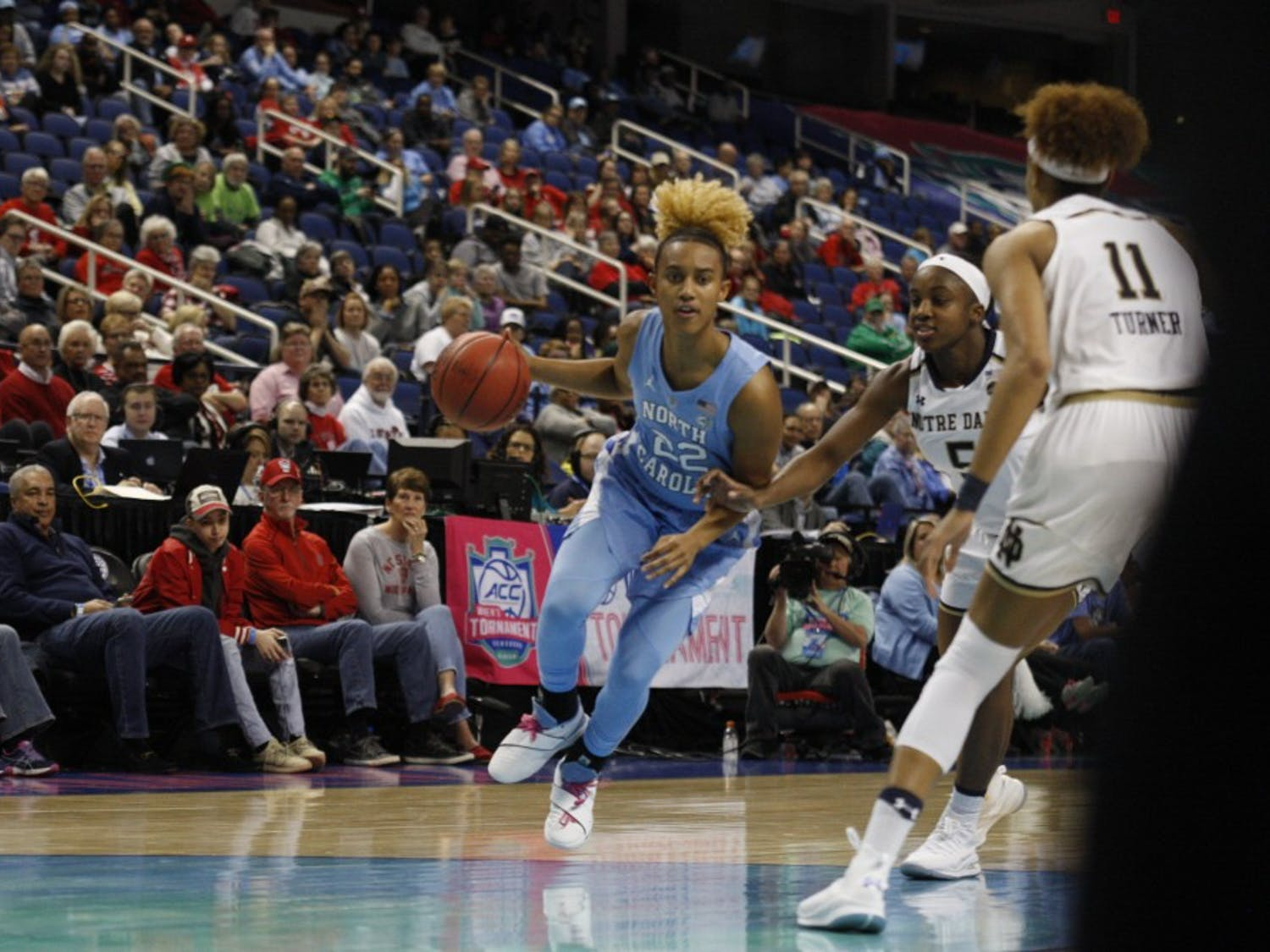 Redshirt senior guard Paris Kea (22)  drives past a Notre Dame defender during the second round of the ACC Tournament in Greensboro, N.C. on Friday, March 8, 2019. UNC lost to Notre Dame 95-77.